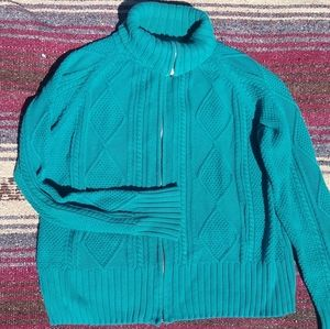 Knitted Zip Up Cardigan Sweater Jacket Size XL